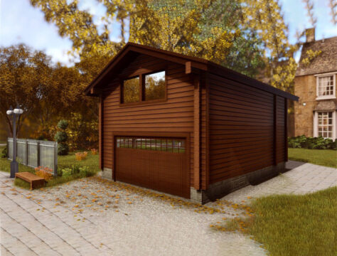 Log garage for two vehicles with studio LG-103
