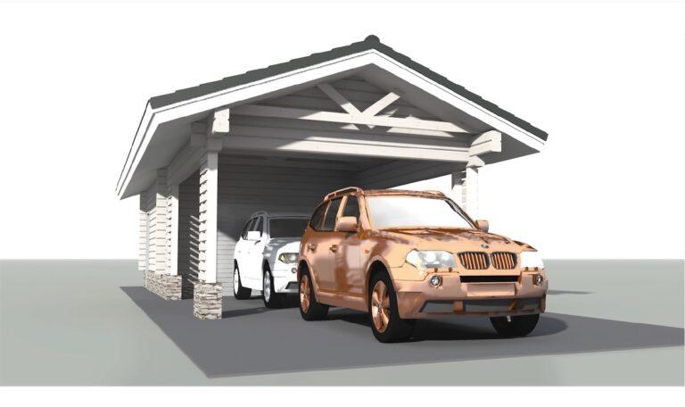 Log garage with carport LG-36